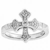 Fancy Diamond Cross Ring, 14K White Gold