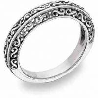 Filigree Wedding Band Ring in 14K White Gold