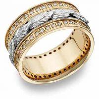 Floral Leaf Diamond Wedding Band, 14K Two-Tone Gold