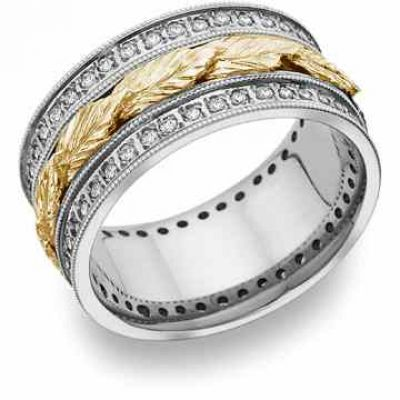 Floral Leaf Diamond Wedding Band in 14K Two-Tone Gold -  - HC-22-WY
