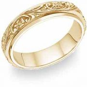 Floral Vineyard Wedding Band in 14K Yellow Gold