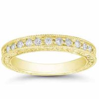 Floret Designed Diamond Wedding Band Ring, 14K Yellow Gold