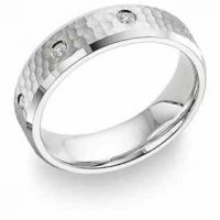 Hammered Diamond Wedding Band, 14K White Gold