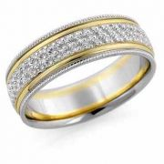 Hand Carved Floral Wedding Band, 14K Two-Tone Gold