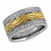 Hand Carved Paisley Diamond Wedding Band, 14K Two-Tone Gold