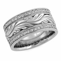 Hand Carved Paisley Diamond Wedding Band Ring