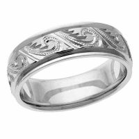 Hand-Engraved Paisley Platinum Wedding Band Ring