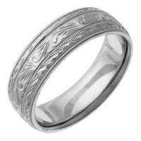 Hand-Etched Platinum Paisley Wedding Band Ring