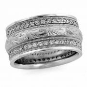 Handcrafted Diamond Paisley Wedding Band Ring