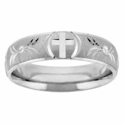 Handcrafted Silver Cross Wedding Band Ring -  - NDLS-309SS