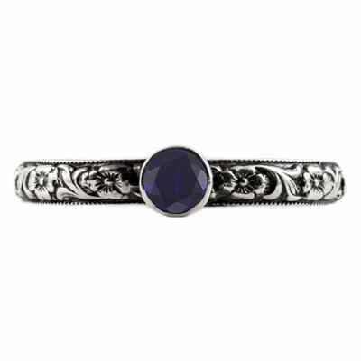 Handmade Paisley Floral Sapphire Engagement Ring, 14K White Gold -  - HGO-ST003SPW