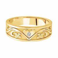 Heart Vineyard Diamond Wedding Band in 14K Yellow Gold