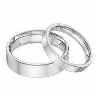 His and Hers 14K White Gold Flat Wedding Band Ring Set