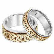 His and Hers Celtic Wedding Band Set in 14K Two-Tone Gold