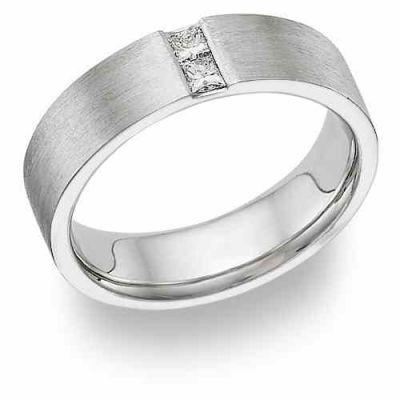 Husband and Wife Diamond Platinum Wedding Band -  - PLAT-D-16