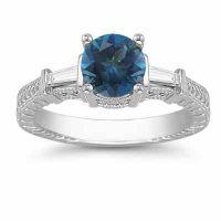 London Blue Topaz and Baguette Diamond Engagement Ring, 14K White Gold
