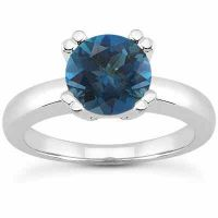 London Blue Topaz Modern Solitaire Ring