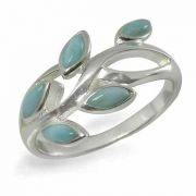 Marquise Larimar Leaf Ring in Sterling Silver
