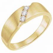 Men's 3-Stone 1/5 Carat Diamond Wedding Band, 14K Gold