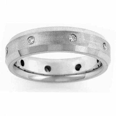 Men s Beveled Diamond Wedding Band Ring -  - NDLS-306W