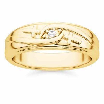 Men s Diamond Cross Wedding Band in 14K Gold -  - STLRG-R16651YB