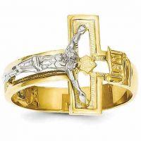 Men's Gold Crucifix Ring, 14K Two-Tone Gold