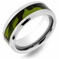 Men's Green Camo Tungsten Wedding Band Ring