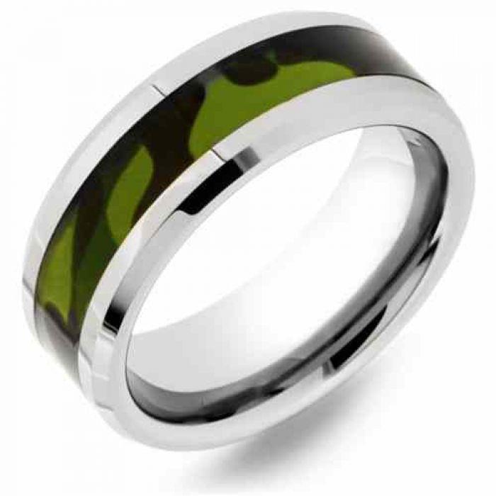 Tungsten Wedding Rings.Men S Green Camo Tungsten Wedding Band Ring