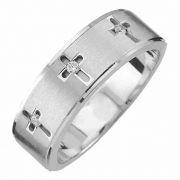 Sterling Silver Men's Three Cross Diamond Wedding Band Ring