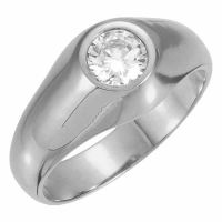 Men's Sterling Silver White Topaz Gemstone Solitaire Ring