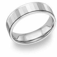 Mirror Finish White Gold Wedding Band Ring - 14K