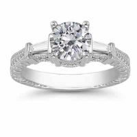Moissanite/Baguette Diamond Engraved Engagement Ring, 14K White Gold