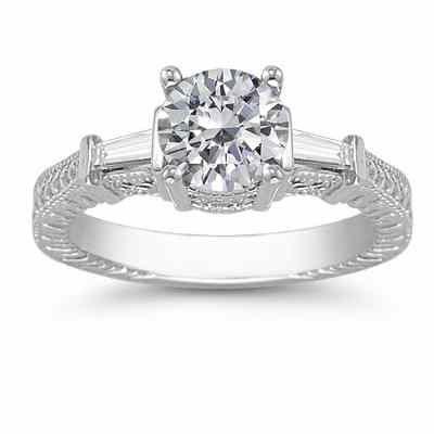 White Topaz/Baguette Diamond Engraved Engagement Ring 14K White Gold -  - AOGRG-7-WT