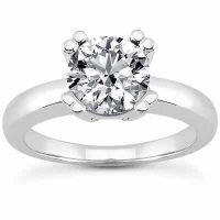 White Topaz Modern Solitaire Engagement Ring