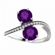 'Only Us' 2 Stone Amethyst Ring with CZ Accents in Sterling Silver