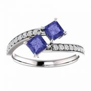 'Only Us' Pricness Cut Tanzanite/CZ 2 Stone Engagement Ring Sterling