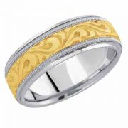 Paisley Carved Wedding Band, 14K Two-Tone Gold