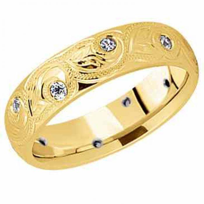 Wedding Rings : Paisley Diamond Wedding Band In 14K Gold