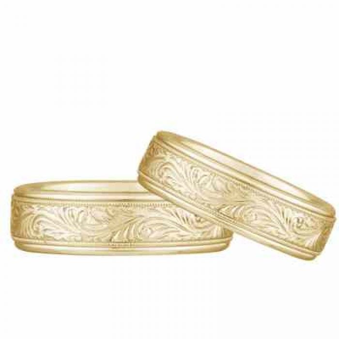 Wedding Rings : Paisley Engraved Wedding Band Set, 14K