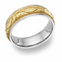 Platinum & 18K Gold Paisley Etched Wedding Band