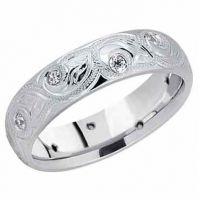 Paisley Leaf Diamond Wedding Band 14K White Gold