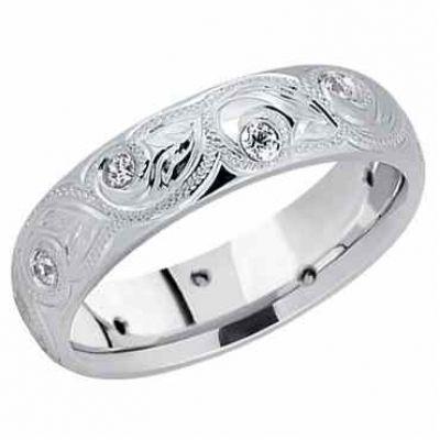 Paisley Leaf Diamond Wedding Band 14K White Gold -  - USWB-DB1261RDW