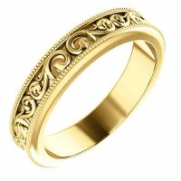 Paisley Pattern Wedding Band Ring in 14K Yellow Gold