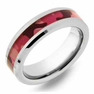 Pink Camo Tungsten Wedding Band Ring for Women -  - WLD-WRTG9621
