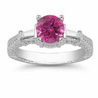 Pink Topaz and Baguette Diamond Engagement Ring in 14K White Gold