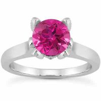 Pink Topaz and Diamond Accent Solitaire Engagement Ring