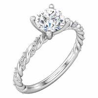 0.87 Carat Diamond Band Swirl Engagement Ring