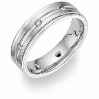 Platinum Diamond Wedding Band polished edges
