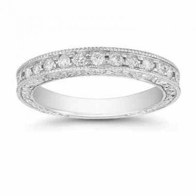 Platinum Floret Diamond Wedding Band Ring -  - QDR-3-BANDPL