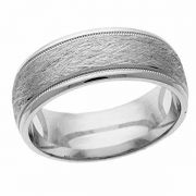 Texture-Cut Wedding Band Ring in White Gold